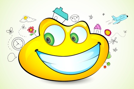 illustration of sketches around glossy frog headed smiley Vector