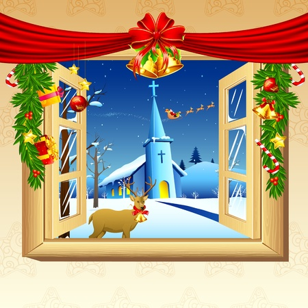 illustration of christmas snowy night through decorated window Vector