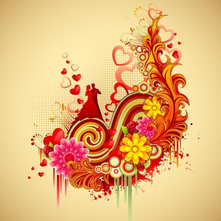 illustration of couple on retro floral wedding card illustration