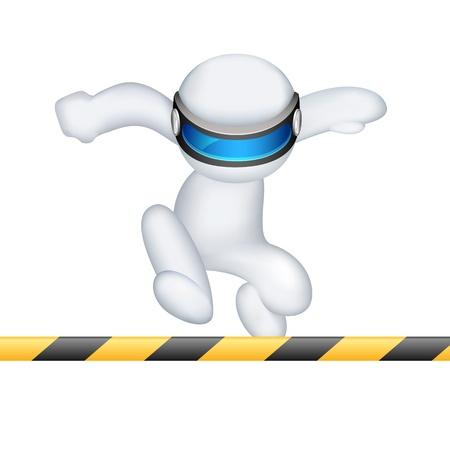 schaalbaar: illustratie van 3d man in volledig schaalbaar running in hordenloop