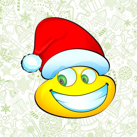 illustration of smiley with santa hat on christmas background Vector