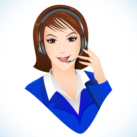 face with headset: illustration of lady talking on headphone in call center