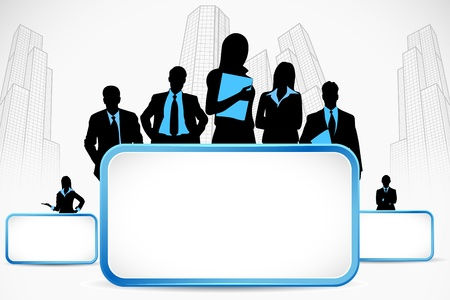 illustration of business people standing with placard on city backdrop Stock Vector - 11664929