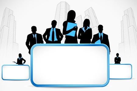 ilustración de la gente de negocios de pie con letrero en telón de fondo de la ciudad
