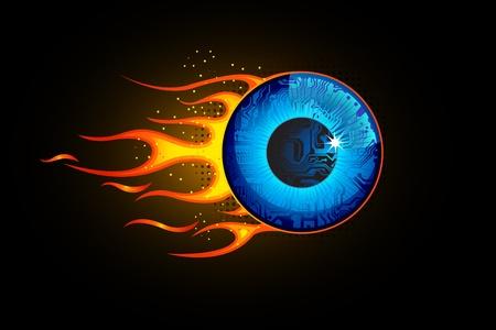 cornea: illustrazione bulbo oculare con la fiamma il fuoco su sfondo astratto Vettoriali