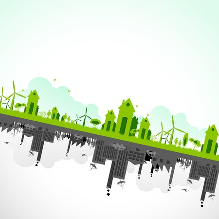 warming: illustration of cityscape showing sustainability of earth