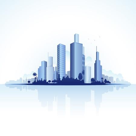 ontwikkeling: illustratie van hoge zakelijke toren van stedelijke stad Stock Illustratie