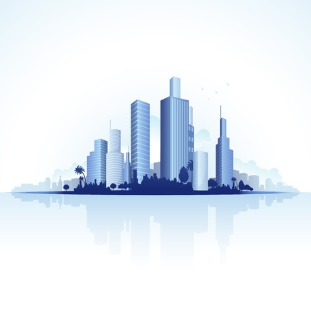 housing development: illustration of tall business tower of urban city Illustration