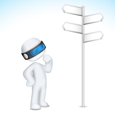 schaalbaar: illustratie van 3d verwarde man in vector volledig schaalbaar staande in de buurt richting raad van bestuur