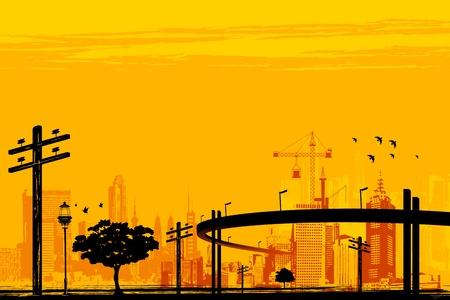 illustratie van wolkenkrabber en over de brug in de stedelijke infrastructuur Vector Illustratie