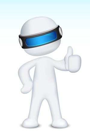 schaalbaar: illustratie van 3d man in vector volledig schaalbaar zien ok teken Stock Illustratie