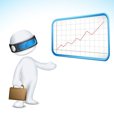 illustration of 3d man in vector fully scalable giving presentation through bar graph Vector