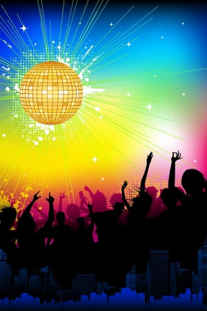 illustration of musical background with cheering crowd in disco night