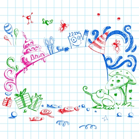 birthday wishes: illustration of happy birthday card in doodle style