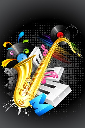 illustration of abstract musical background with saxophone and guitar illustration