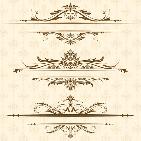 marriage certificate: illustration of set of vintage design elements for page border Stock Photo