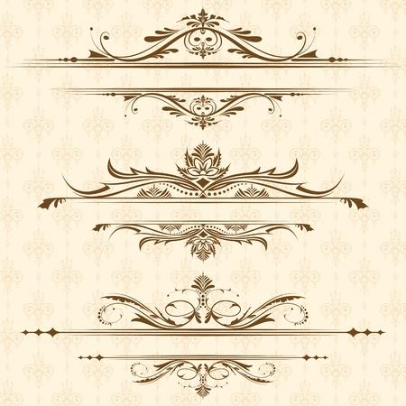 tarjeta de invitacion: Ilustración de un conjunto de elementos de diseño clásicos de borde de página
