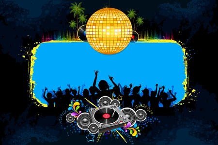 illustration of musical background with cheering crowd in disco night Stock Illustration - 11779425