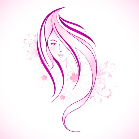 illustration of floral lady in line art style Stock Illustration - 11779409