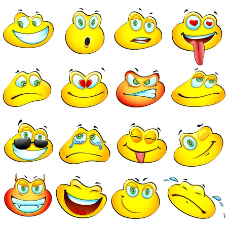 illustration of set glossy frog headed smiley in differnt mood Stock Vector - 11779405