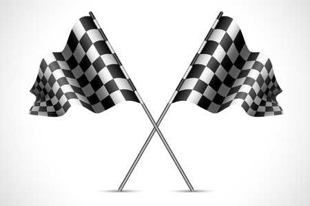 cuadros blanco y negro: ilustraci�n de la bandera de la raza con la textura a cuadros Vectores