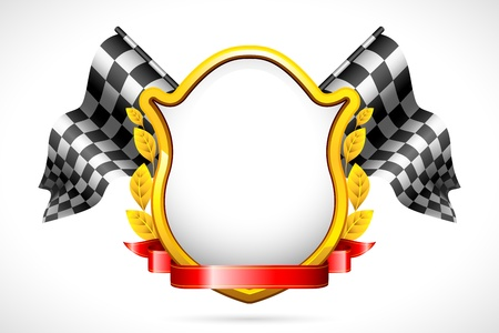 checker flag: illustration of racing flag with shield and laurel Illustration