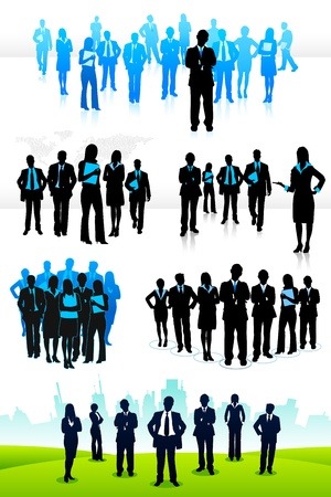 illustration of set of business people on isolated background illustration