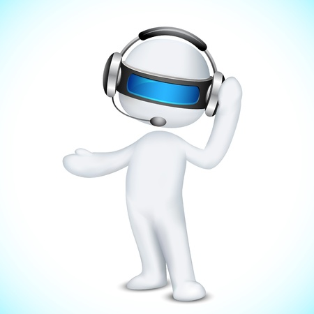 call center office: illustration of 3d man in vector fully scalable talking on headphone in call center