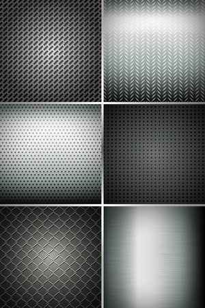 illustration of set of metal texture background Vector