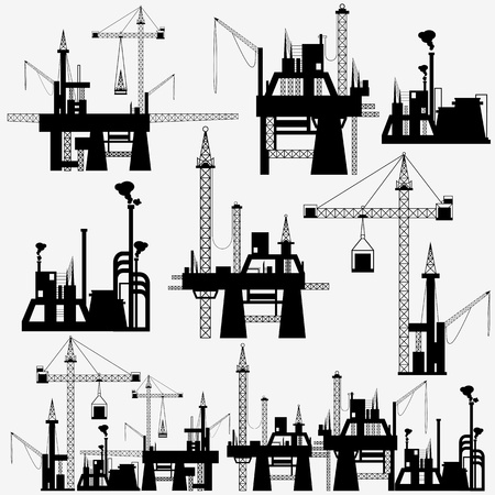 heavy construction: illustration of set of crane in construction site on isolated background