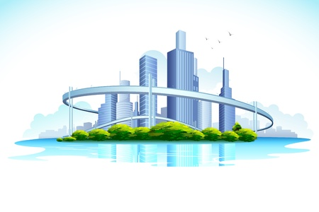 미드 타운: 호수와 도시의 도시에 마천루의 그림