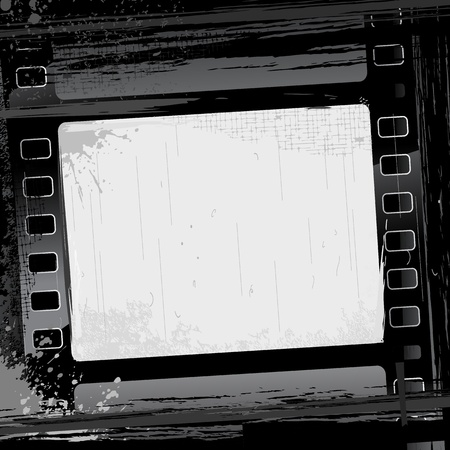 film projector: illustration of film strip frame on abstract grungy background
