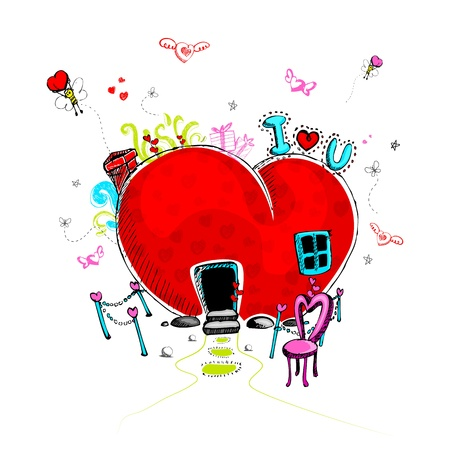 graffiti background: illustration of love concept in doodle style for valentine Illustration