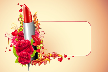 illustration of lipstick with flowers on abstract background Vector