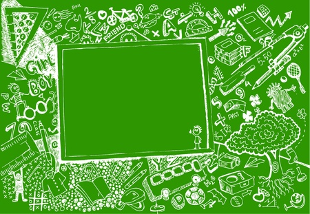 illustration of education element on chalk board in doodle style Vector