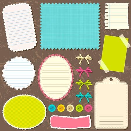 addition symbol: illustration of set of retro decorative element with lace frame for card Illustration