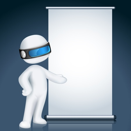 funny robot: illustration of 3d man giving presentation in display board in vector fully scalable
