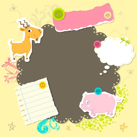 editable invitation: illustration of baby arrival card with copy space Illustration