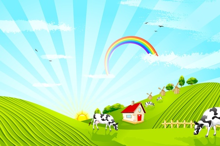 illustration of cattle grazing in beautiful farm landscape Illustration