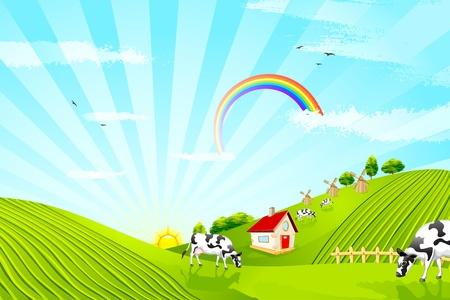 ilustración de la ganadería en el paisaje hermoso granja Vectores