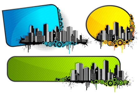townscape: illustration of set of architectural banner with city scape