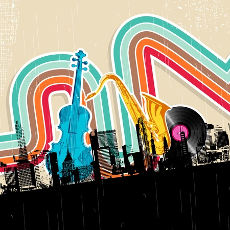 music loudspeaker: illustration of cityscape with musical instrument in retro style Illustration