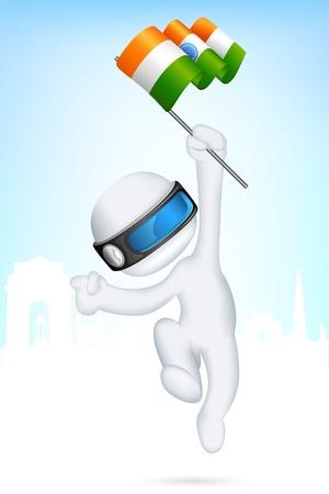 hinduismo: ilustraci�n del hombre 3d en vector completamente escalable corriendo con bandera de la India