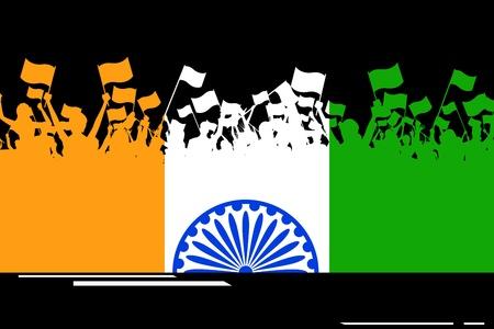 bandera de la india: ejemplo de ciudadano de la India bandera ondeando en la bandera tricolor