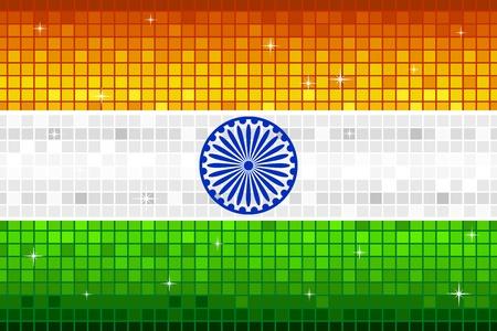 indien muster: Darstellung der indischen Flagge mit Disco quadratischen Muster Illustration