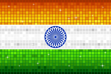illustration of Indian flag with disco square pattern Vector