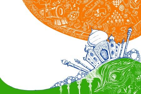 Illustration von Taj Mahal auf tricolor doodle Hintergrund