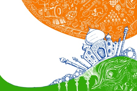 bandera de LA INDIA: ilustración de Taj Mahal en el fondo tricolor doodle Vectores