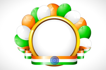 illustration of tricolor balloon with Indian flag color ribbon Vector