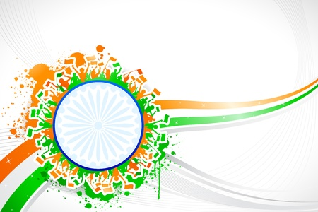 インド: 抽象的な三色の背景上のインドの応援イラスト